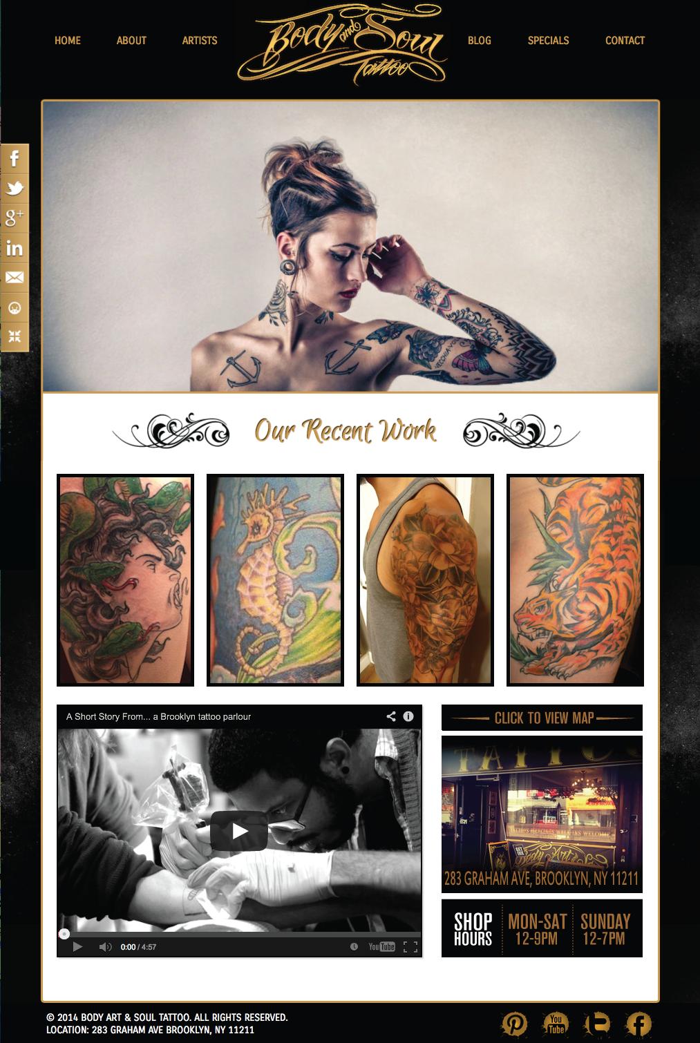 Tattoo Shop Website Design | WordPress Website Design NJ | NJ Web ...